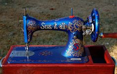 Revamped sewing machine  http://sewsitall.blogspot.com/2011/12/singer-hand-crank-custom.html