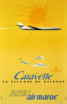 """Royal Air Maroc poster """"Caravelle, the speed of silence"""" 1962"""