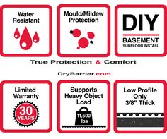 """DryBarrier is the best solution for your basement ★★★Water Resistant★★★ ★★★Mould and Mildew Protection★★★ ★★★DIY Friendly★★★ ★★★30 Years Limited Wattanty★★★ ★★★Supports Heavy Load up to 11500 Lbs★★★ ★★★Low Profile, only 3/8"""" Thick★★★ Do we need to say more ? #DryBarrier #subfloor #DIY #homedecor #reno2reveal #basementreno Basement Subfloor, Say More, Mold And Mildew, 30 Years, Profile, Sayings, Water, Pictures, Diy"""