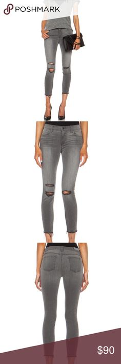 J Brand Cropped Mid-Rise Skinny Jeans These J Brand Cropped Mid-Rise Skinny Jeans are in new condition. Color: Chrome Mercy. Ripped knees and a frayed hem deconstruct the look of these ankle-length J Brand skinny jeans, rendered in washed-out chrome mercy for a grunge aesthetic. 5-pocket styling. Button closure and zip fly. Slight whiskering on front along pockets. Distressed fabric detail on front. Frayed hem. Fabric: Lightweight stretch denim.  MEASUREMENTS Rise: 8.5in / 21.5cm Inseam…
