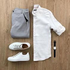 Men's outfit grid - taylor stitch oxford jack button down and veja white sneakers