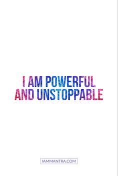 Today's Mantra: I AM powerful and unstoppable. ✨✨✨✨✨ #iam #mantra #iammantra #blacklivesmatter #todaysmantra #dailymantra #love #Gratitude #grateful #lawofattraction #transformation #mentalhealth #affirmation #meditation #prayer #zen #selfcare #selflove #yoga #wellness #inspiration #innerpeace #manifestation #mindfulness #empowerment #positive #dreambig Positive Affirmations Quotes, Affirmation Quotes, Positive Quotes, Boss Up Quotes, Me Quotes, Good Vibes Quotes, Meditation Prayer, Daily Mantra, Mental And Emotional Health