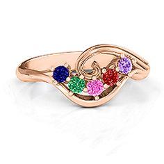 3 - 8 Stone Swirl Mother's Ring #jewlr