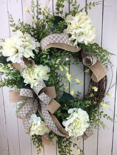 Hydrangea Wreath, Spring Wreath, Summer Wreath, Front Door Wreath,  Farmhouse Wreath, Farmhouse Door Wreath, Greenery Wreath, Door Wreath | Front  Doors, ...