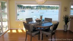 Staged informal dining area with a gorgeous view!