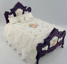 Silk Ribbon Embroidered Custom Dressed Dollhouse Miniature Bed by Deb Roberts of Deb's Minis Miniature Rooms, Miniature Houses, Miniature Furniture, Dollhouse Furniture, Dollhouse Accessories, Headboard And Footboard, Silk Ribbon Embroidery, Barbie Furniture, Custom Dresses