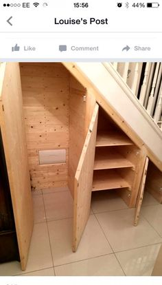 18 Useful Designs for Your Free Under Stair Storage Take advantage of unused space under the basement stairs with these inexpensive (and DIY! Diy Storage Shelves, Basement Storage, Basement Stairs, Cupboard Storage, Closet Storage, Basement Remodeling, Basement Ideas, Basement Plans, Coat Cupboard