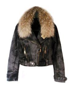 Raccoon Fur Collar Zipped Denim Coat