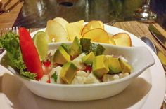 Sea bass ceviche with avocado and a side of tapioca root chips 1942 Restaurant Islita, Guanacaste Costa Rica