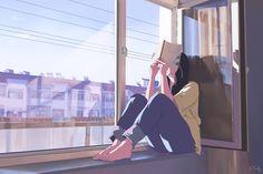 illustration Bild bei We Heart It Aesthetic Art, Aesthetic Anime, Girl Cartoon, Cartoon Art, Bd Art, Anime Scenery Wallpaper, Reading Art, Digital Art Girl, Animes Wallpapers