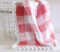 Crochet Pink Gingham Blanket - Daisy Farm Crafts