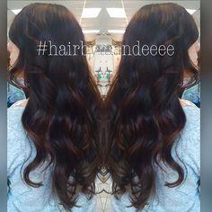 Dark warm brown base paired with beautiful dark caramel hand painted pieces. #hairbymandeeee #hairstylist #behindthechair #modernsalon #styleyourstory #shadeseq #cilantrohairspa #unitehair #handpainted #handpainting #hairpainting
