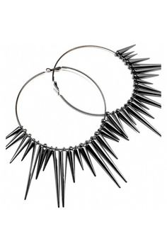 Elicia's Black Spike Hoop Earrings, $23.95, available at Fantasy Jewelry Box.