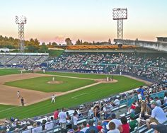 Ben Cheney Stadium with Mt. Rainier in the background, Tacoma, Washington. Home to the Tacoma Rainers, AAA minor league baseball franchise of the Seattle Mariners. Formerly the Tacoma Tigers (Oakland A's franchise).