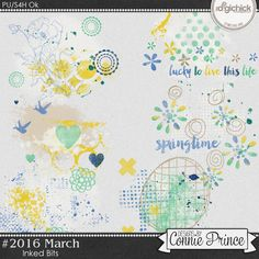 #2016 March - Inked Bits by Connie Prince. Includes 6 inked bits. Saved in PNG format. Scrap for hire / others ok.
