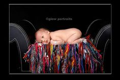 Allison of Glow Portrait Studio shares a super sweet portrait including a Hodge Podge Colors Galore Oodles of Noodles Handknit Blanket with Fringe