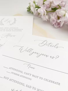 Letterpress Invitations and RSVP Card for a Luxury Wedding