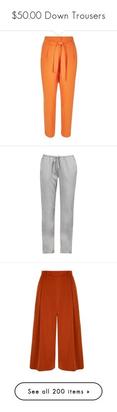 """""""$50.00 Down Trousers"""" by pinky-chocolatte ❤ liked on Polyvore featuring pants, orange, sale, tapered trousers, woven pants, red high waisted trousers, orange trousers, high-waist trousers, tapered pants and french connection"""