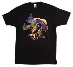 Text Cotton Loose Short Sleeve Mens Shirts Psychedelic Magic Mushroom Smoking A Human | Lsd, Drug Culture Unisex T-shirt