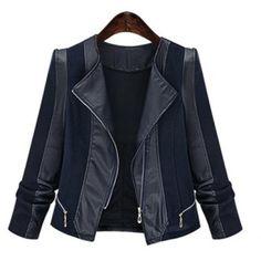 Trendy Turn-Down Neck Long Sleeve Spliced Zippered Women's Jacket (BLACK,2XL) in Jackets & Coats | DressLily.com