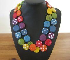 Rainbow Kazuri Bead Necklace