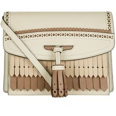 Burberry Fringed Macken Cross Body Bag (4,585 ILS) ❤ liked on Polyvore featuring bags, handbags, shoulder bags, fringe crossbody, brown fringe purse, burberry shoulder bag, cross-body handbag and fringe purse