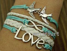 Infinity love bracelet  two birds braceletantique by wrist9art, $5.99