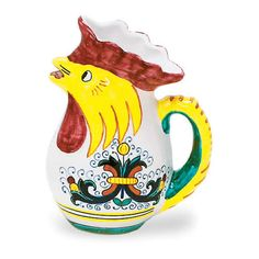 Ricco Rooster pitcher - handmade, handpainted Italian ceramics from Deruta!