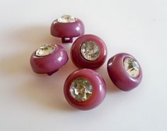 Set of Vintage Purple Buttons with Sparkly by heartfelthandiwork (Craft Supplies & Tools, Sewing & Needlecraft Supplies, Buttons & Fasteners, Buttons, button, commercial, glass, plastic, rhinestone, purple, sparkle, sparkly, glitter, embellishment, vintage, costume)