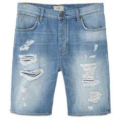 MANGO MAN Ripped-Detail Denim Bermuda Shorts ($50) ❤ liked on Polyvore featuring men's fashion, men's clothing and mango man