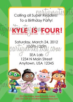 12 best super why party images on pinterest super why party super super why personalized party invitation by partyinvites on etsy 1000 super why party super filmwisefo
