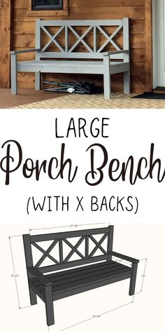 How to build a large outdoor bench with 2x4s and 2x6s with X back.  Easy DIY tutorial from ANA-WHITE.com. #anawhite #anawhiteplans #porchbench #diy #diyfurniture Diy Furniture Plans, Diy Wall Decor, Diy Patio, Outdoor Diy Projects, Diy Woodworking, Diy Decor, Woodworking Projects, Diy Entryway, Wooden Diy