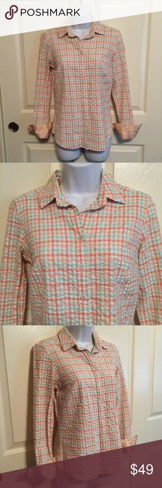 Vineyard vines orange button polo shirt cotton 6 Vineyard vines by Shep & Ian. orange checkered button-down polo shirt. Size 6. Shell: 97% cotton 3% spandex. Trim is 100 % silk. Made in China. Pre-loved in excellent condition. Women's Ladies Fashion. Check out my closet, we have a variety of women's, Victoria Secret, handbags 👜 purse 👛 Aerosoles, shoes 👠fashion jewelry, necklace, clothing, dress, Beauty, home 🏡 .  Ships via USPS. Smoke & Pet-Free. Offers 30% OFF bundle discount. Always a…