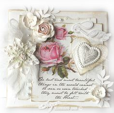 Inger Harding designed handmade shabby chic / vintage greetings card with cabbage roses, hearts and white flowers - divine