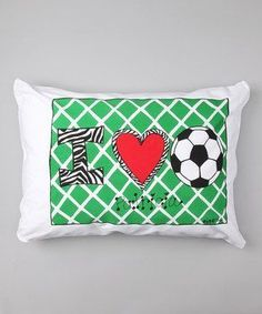 Personalized I Love Soccer Pillow Case