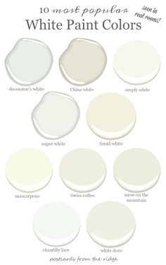 See 10 wonderful white rooms that will make you smile See 10 rooms painted with the most popular white paint colors from Benjamin Moore. Colors include white dove, decorator's white, simply white, and more. Room Paint Colors, Interior Paint Colors, Paint Colors For Home, Interior Design, Off White Paint Colors, Light Paint Colors, Gray Paint, Pottery Barn Paint Colors, Ceiling Paint Colors