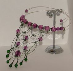 Macrame choker necklace with purple and green faceted beads - pinned by pin4etsy.com