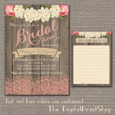 Garden Rustic Baby Lingerie Bridal shower invite wood pink peonies lace shabby chic INVITATION Printable DIY (91) Digital Downloadable jpg