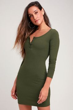 521fa61a43e0 Krissy Olive Green Ribbed Knit Long Sleeve Bodycon Dress Green Dresses For  Sale