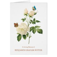 Butterflies & White Roses Funeral Thank You Card - rose style gifts diy customize special roses flowers