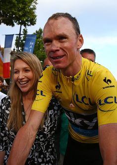 Chris Froome celebrates with his wife Michelle after winning the 2015 Tour de France in Paris!