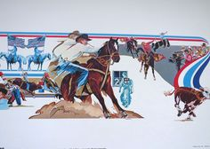 1978 Rodeo Lithograph - CALF ROPER - Cowboy Nat'l Finals Rodeo Hesston Corp NOS #WesternMotif