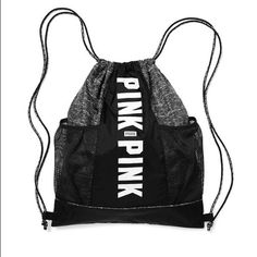 """PINK mesh pocket drawstring backpack PINK mesh pocket drawstring backpack- 2 left  *marl black color * New - no tag/ was purchased online in bag  Drawstring closure Two exterior mesh pockets; fits Campus Water Bottle Double shoulder straps. 18''H x  14 1/2""""W Imported polyester  PRICES FIRM/ no TRADES PINK Victoria's Secret Bags Backpacks"""