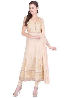 Buy Embroidered Cotton Silk Anarkali Suit in Beige online, work: Embroidered, color: Beige, usage: Festival, category: Salwar Kameez, fabric: Cotton Silk, price: $62.00, item code: KJN1937, gender: women, brand: Utsav
