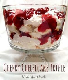 Cherry cheesecake trifle made with cream cheese, cherry pie filling and angel food cake. Cherry cheesecake trifle made with cream cheese, cherry pie filling and angel food cake. Cherry Desserts, Cherry Recipes, Trifle Desserts, Easy Desserts, Delicious Desserts, Yummy Food, Layered Desserts, Cherry Pie Filling Desserts, Angel Food Cake Trifle