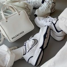 hecks over stripes ✔️ The Air Monarch Sneakers are a classi New Sneakers, Air Max Sneakers, Sneakers Nike, Dad Shoes, Me Too Shoes, Baskets, Nike Air Monarch, Aesthetic Shoes, Aesthetic Fashion