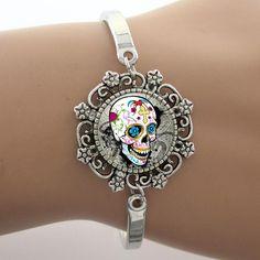 Sugar Skull Glass Dome Lace Bracelet
