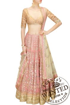 Buy Blush Pink Gota Patti Embroidered Lehenga Set By Anita Dongre online in India at best price. Featuring a blush pink georgette foil lehenga embellished with traditional gota patti embroidery in Pakistani Dresses, Indian Dresses, Indian Sarees, Rajasthani Lehenga, Lehenga Designs, Indian Attire, Indian Ethnic Wear, Indian Wedding Outfits, Indian Outfits