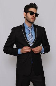 Black Slim Fit Prom Suit | Clothes | Pinterest | Men's suits