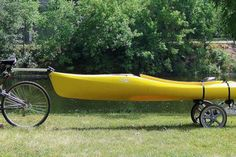 Bicycle Canoe Trailer Paddle your bike down river then bike trailer your canoe back up river. Kayak Boats, Kayak Camping, Canoe And Kayak, Kayak Fishing, Campsite, Fat Bike, Kayak Transport, Kayak Trailer, Bike Trailers